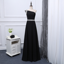 2017 new arrival stock maternity plus size bridal gown evening dress black one shoulder bling diamond long gala party hot LF1701
