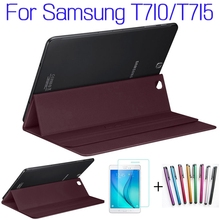 Hot Sale!!! Top Quality Smart PU Leather Cover for Samsung Galaxy Tab S2 8.0 T710 T715 Tablet Case+Free Screen Protector+Pen