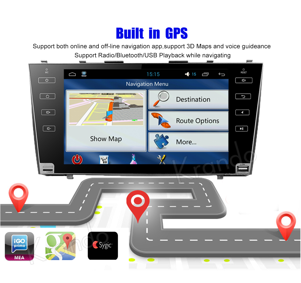 Krando Android car radio gps navigation multimedia system for toyota Camry 2007 2008 2009 2010 2011 (6)