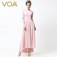 VOA Summer new high-necked long-sleeved silk jersey dress solid color big swing dresses A5335