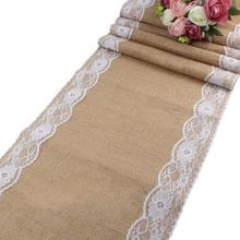 Vintage Natural Burlap Jute Linen Table Runner Lace Cloth For Dining Room Restaurant Table Christmas Party Wedding Decor(China)