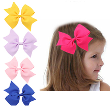 1Lot 5pcs  Hair Bows Clips Boutique Hair Pin Grosgrain Ribbon Bows Hairpins Kids Hair Accessories w--108