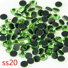 100 Gross Peridot Glass Crystal Hot Fix Stones Flat Back Rhinestopne SS20  With Glue For Home & Garden Motif Design