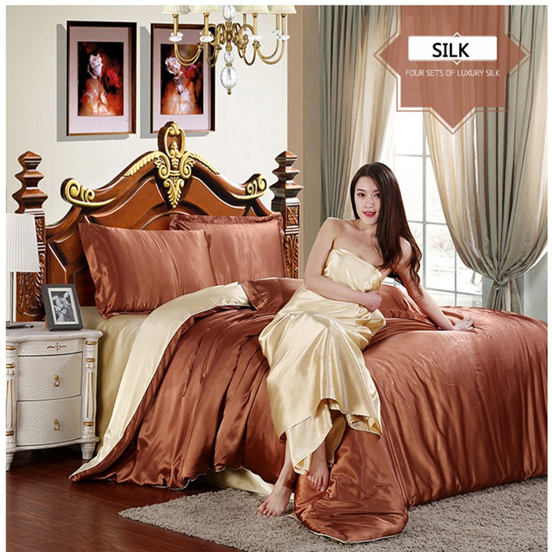 HOT! 100% pure satin silk bedding set,Home Textile King size bed set,bedclothes,duvet cover flat sheet pillowcases Wholesale 18