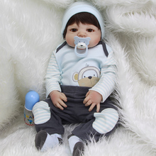 2017 New Style 23 Inch Dolls Newborn Silicone Vinyl Full Body Babies Boys Real Touch Doll Toy With Wig Kids Birthday Xmas Gift