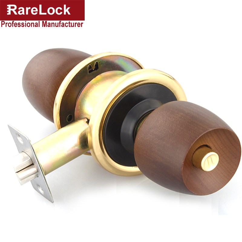 LHX MMS419 Beech Wooden Handle Spherical Interior Door Lock with Keys and Knob Simple Style Office Home Security Hardware c<br>