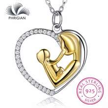 Authentic S925 Pure Sterling silver fine jewelry gold color mom mother son mother's day elegant women lady gift wholesale love(China)
