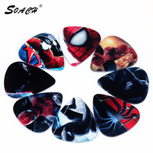 SOACH 10pcs/Lot 0.71mm thickness Bass Guitar Picks acoustic stratocaster parts Cool Multi-pattern ukulele/Guitarra Accessories