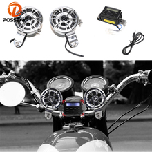 POSSBAY Universal 12V Motorcycle Sound Audio Radio System Handlebar Phone FM MP3 Stereo With 2 Speakers Scooter Audio Speakers(China)