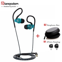 Langsdom Sp80A Anti-Fall Sports Earphones Waterproof Sweatproof earphone with microphone in-ear earhook Headset for Phone Mp3
