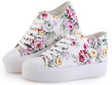 Nice New Floral Platform Sneakers Women Wedge Sneakers Fashion Flower Canvas Sneakers Women Shoes Platform Sapatos Femininos(China)