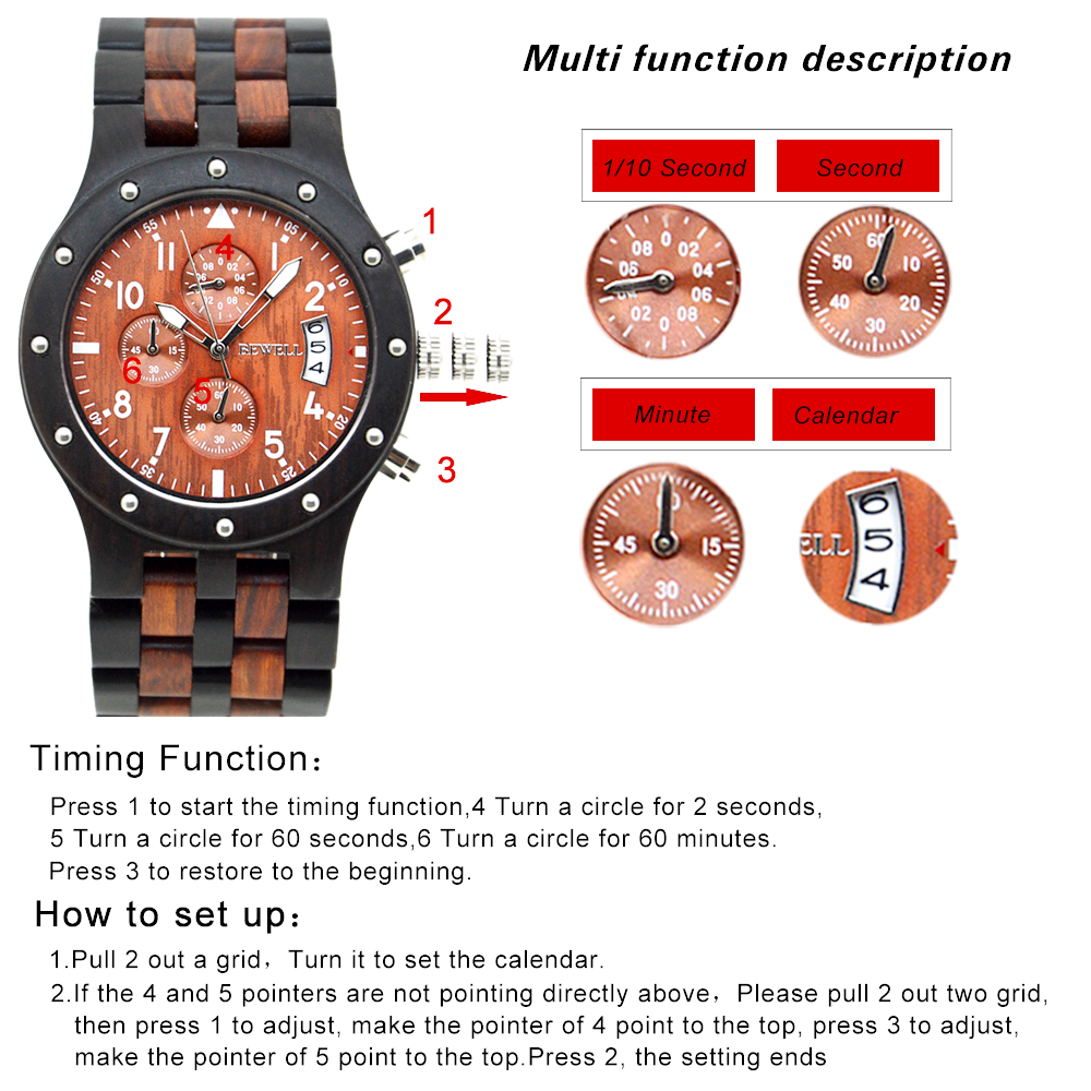 BEWELL Wood Watch Mens Watches Top Brand Luxury Designer Military Watch Quartz Analog Wrist Watch with Chronograph Calendar Date 6