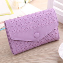 2017 Real New Arrive Solid Color Envelope Women Wallets,weave Medium Wallets,lady's Day Clutch,pu Leather Purse.can Be A Gift.