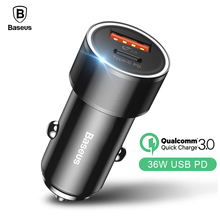 Baseus Dual USB Car Phone Charger iPhone USB Type C PD Quick Charge 3.0 QC3.0 Car Charger Samsung S9 Xiaomi Car-Charger