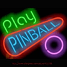 Play Pinball Baseball Neon Sign Neon Bulbs Led Signs Real Glass Tube Room Restaurant Hotel Decorative Store Display 17x14