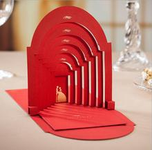 Free Shipping 50PCS/LOT CW3083 Red European-style 3D Church Wedding Invitation Card With Envelope