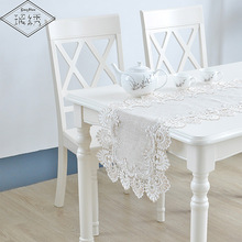 LongShow Vintage Elegant 40x90 40x130 40x160cm Embroidered Lace Trim Linen Table Runner(China)
