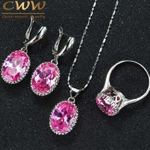 High Quality Round Purple Pink Anstrian Crystal Ladies Jewelry Sterling Silver 925 Fashion Jewellery Sets Christmas Gifts T271