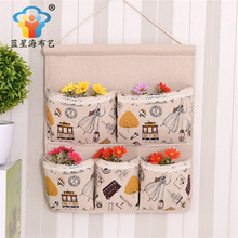 Hot Essential Practical Storage Bag Linen Organizer wall hanging bags multi-layer fabric debris pastoral style