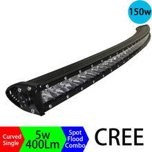 150W 3D Long Distance Super Slim Single Row Curved Work Car Light Bar Offroad Driving Lamp Auto Parts SUV  UTE 4WD ATV Boat