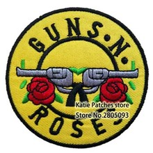 US Band Guns and Roses Badge Embroidered Iron on Patch, Punk Logo Music Farbic Jacket patch, Children DIY Clothing Accessories(China)