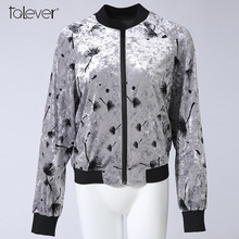 Autumn Winter Women Velvet Bombs Jacket 2017 Fall Long Sleeve Floral Print Coat Female Casual Outwear Windbreaker Talever(China)