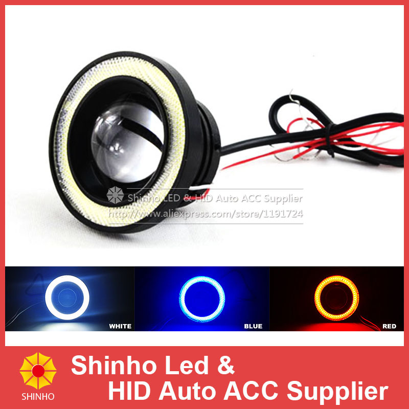 2PCS/lot 2.5 Inch Universal Car Fog Lights LED Daytime Driving Lamp COB Angel eyes Projector Lens Free Shipping<br><br>Aliexpress