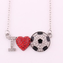 I Love You Silver Plated Crystal Red Heart Soccer Ball Pendant Necklace Best Anniversary Jewelry for Girlfriend