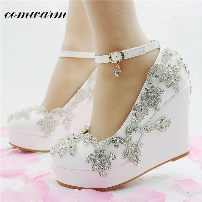 Women Shoes Luxury Wedding Hand Made Rhinestone Flower Decoration High Heels Platform  Elegant Wedges Shoes for Women<br><br>Aliexpress
