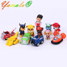 12pcs/set Yamala Canine Patrol Dog Toys Russian Anime Doll Action Figures Car Patrol Puppy Toy Gift For Child