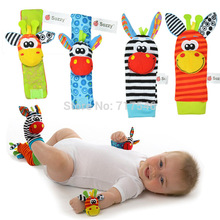 4 pcs/lot (4 pcs=2 pcs waist+2 pcs socks), baby rattle toys Sozzy Garden Bug Wrist Rattle and Foot Socks