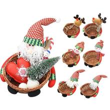 Bamboo Christmas Candy Storage Basket Box Santa Claus Snowman Gift Multicolor candy Box Boxes Xmas Deer Baskets Kids Gift 3