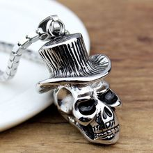 Punk Gothic Vintage Retro Skeleton Skull Skeleton Charm Stainless Steel Pendant Necklace Fashion Jewelry Wholesale Charms Male(China)