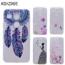 2015 For LG Nexus 5X Case Cartoon Flower Soft TPU Phone Case For LG Google Nexus 5X Nexus5X Case Silicone Protective Back Cover