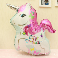 Cute unicorn Helium balloons happy birthday horse kids toys inflatable foil balloons unicorn birthday party decoration supplies