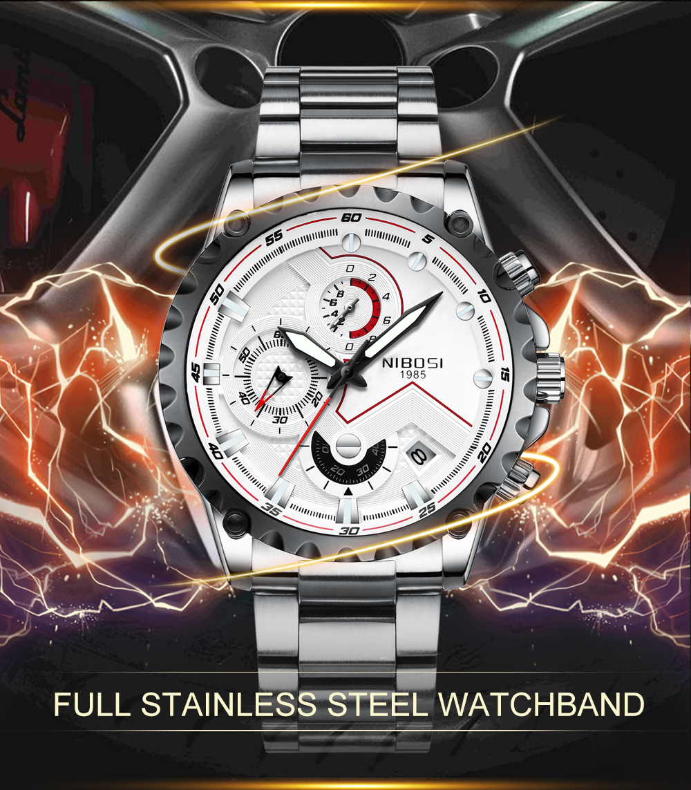 Military Watches Men Quartz Analog Men Watches Stainless Steel Time Date Clock Men Luxury Brand Hot Famous Brand Watches NIBOSI  (2)