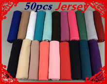 50pcs  High quality jersey scarf cotton plain elasticity shawls maxi hijab long muslim head wrap long scarves/scarf