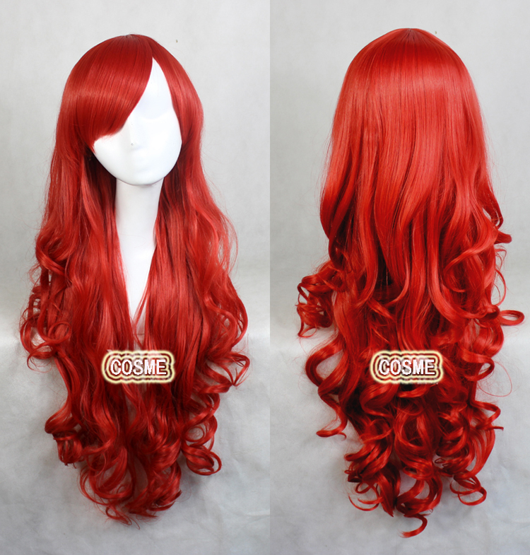 80cm Anime cos wig wavy red hair air volume wildcard character dance party play full lace wig free shipping<br><br>Aliexpress