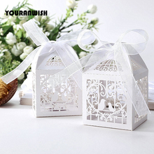 50pcs Deluxe Party Wedding Favor Laser Cut Pearl Paper Ribbon Candy Boxes Gift Box Bombonera Classical Bird Style  Marriage Birt