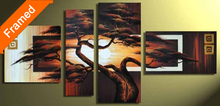 Natural trees picture oil painting modern multi canvas wall art for living room wall decoration hand made oil painting