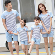 Family Set 2017 Father and Son Clothes Fashion Mother Daughter Cotton Family Clothing Stripe Sports Suit Family Matching Outfits