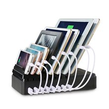 sharllen 8 ports desktop USB charger multi-function charging station dock with stand black For Mobile phone tablet PC