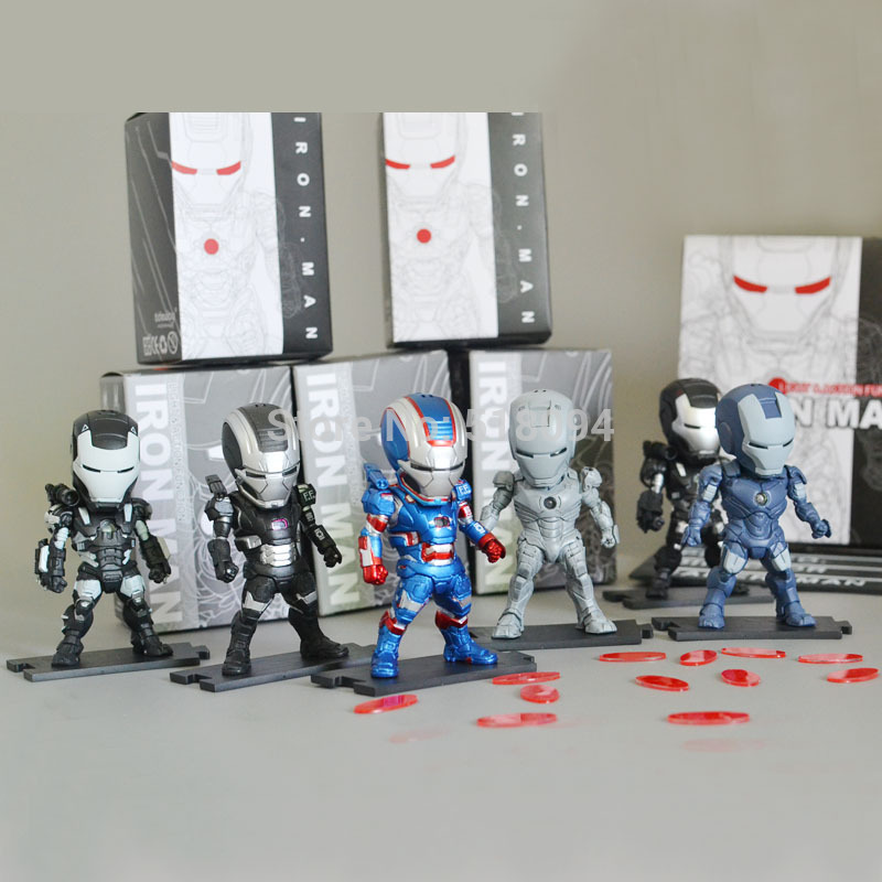 Iron Man 3 Light &amp; Action Figure War Mechine Iron Patriot Collectible Figure Toys 6pcs/set HRFG288<br><br>Aliexpress