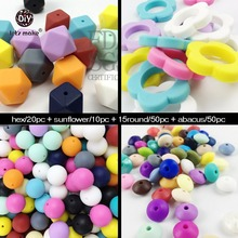Let's Make Necklace Pendant 130pc Bulk Silicone Beads Food Grade Craft Supplies & Tools Baby Toys Breastfeeding Nursing Pendants(China)