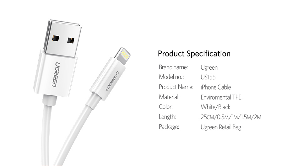 Ugreen USB Cable for iPhone 8 2.4A MFi Lightning to USB Cable Fast Charging Data Cable for iPhone 7 6 5s iPad Mobile Phone Cable 16
