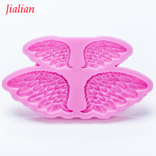 Jialian Goose feather Angel Wings Silicone Mold Fondant Cake Decorating Tools Sugarcraft Chocolate Candy Clay Moulds FT-0955(China)