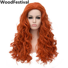 WoodFestival womens wigs synthetic hair heat resistant synthetic wigs curly wig long brown orange wig 70 cm ladies daily(China)