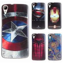 New Fashion 3D Stereo relief silicon soft case For HTC Desire 828 dual Cartoon Captain Spider Super Man Phone Back Cover Cases