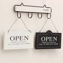 American Open Closed Wood Sign Vintage Shop Door Plate Zakka Retro Shabby Chic Restaurant Store Wooden Placa Decorativa GY020
