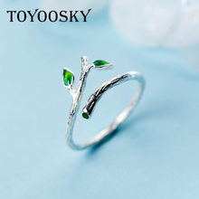 Green Leaves Tree Branch Opening Ring for Woman Girl Simple Special 925 Silver Finger Rings Jewelry(China)